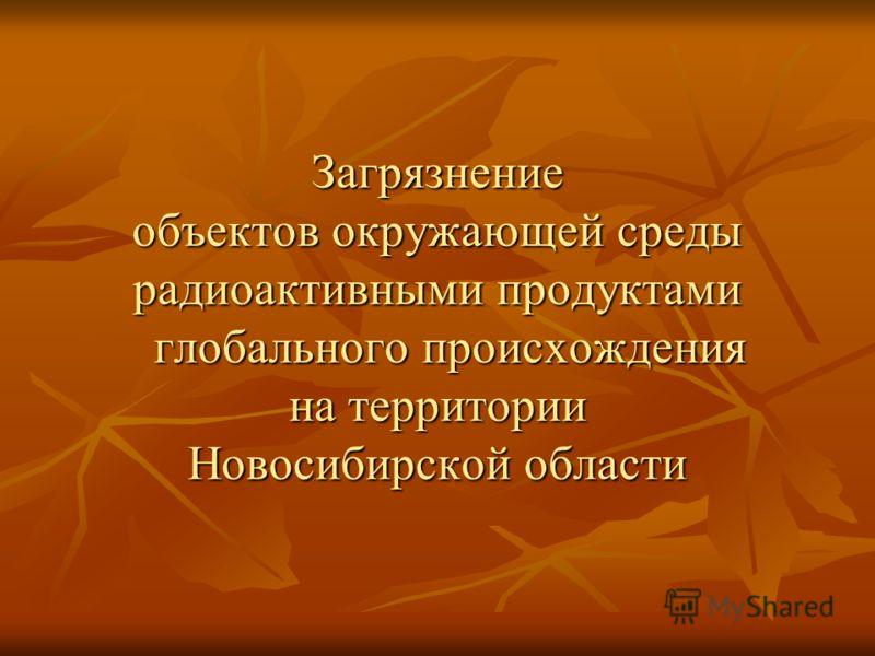Загрязнение объектов окружающей среды радиоактивными продуктами глобального происхождения на территории Новосибирской области