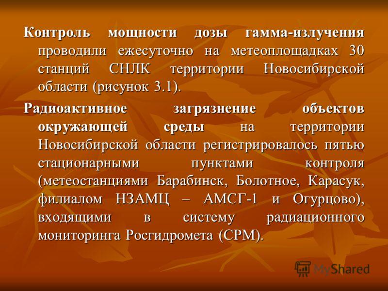 Контроль мощности дозы гамма-излучения проводили ежесуточно на метеоплощадках 30 станций СНЛК территории Новосибирской области (рисунок 3.1). Радиоактивное загрязнение объектов окружающей среды на территории Новосибирской области регистрировалось пят