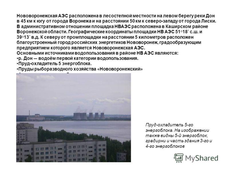 Нововоронежская АЭС расположена в лесостепной местности на левом берегу реки Дон в 45 км к югу от города Воронежа и на расстоянии 50 км к северо-западу от города Лиски. В административном отношении площадка НВАЭС расположена в Каширском районе Вороне