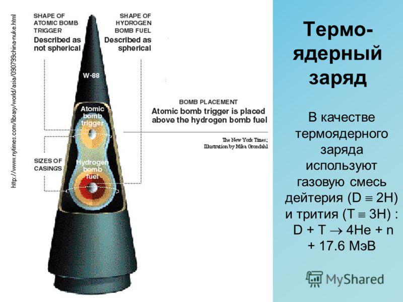 Термо- ядерный заряд В качестве термоядерного заряда используют газовую смесь дейтерия (D 2H) и трития (T 3H) : D + T 4He + n + 17.6 МэВ
