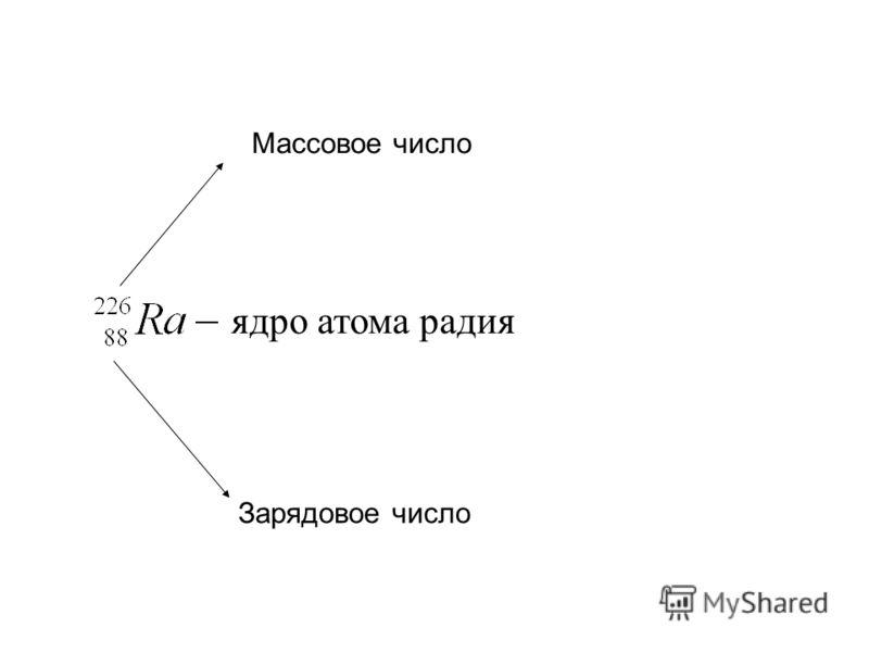 Массовое число Зарядовое число ядро атома радия