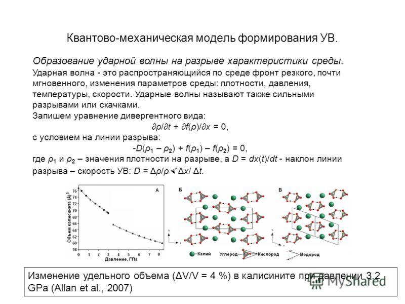 Квантово-механическая модель формирования УВ. Образование ударной волны на разрыве характеристики среды. Ударная волна - это распространяющийся по среде фронт резкого, почти мгновенного, изменения параметров среды: плотности, давления, температуры, с