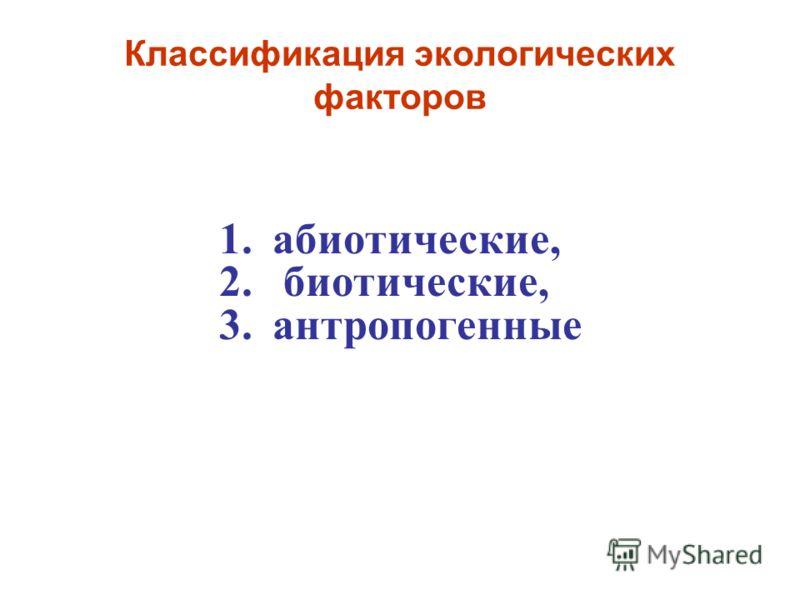 Классификация экологических факторов 1.абиотические, 2. биотические, 3.антропогенные