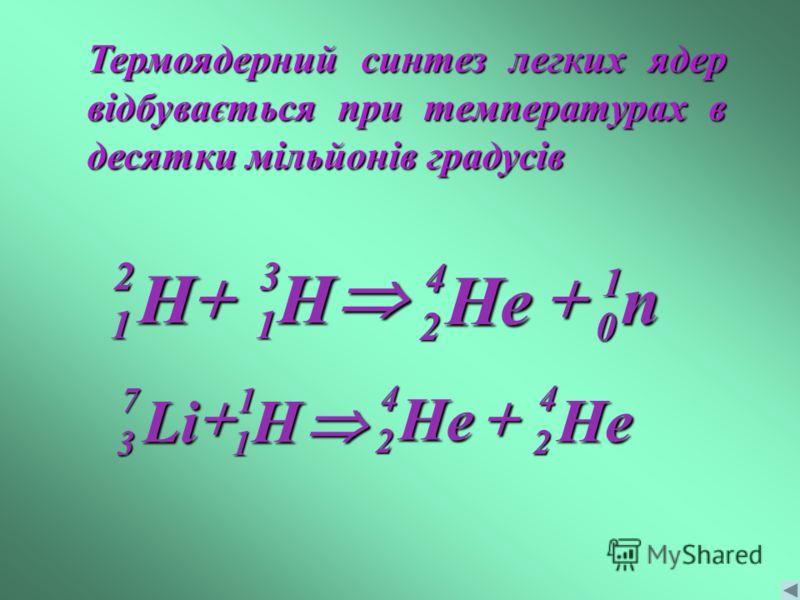 Термоядерний синтез легких ядер відбувається при температурах в десятки мільйонів градусів He 4 2 H31 n1 0 H21 He42 He42 HLi 1 1 7 3