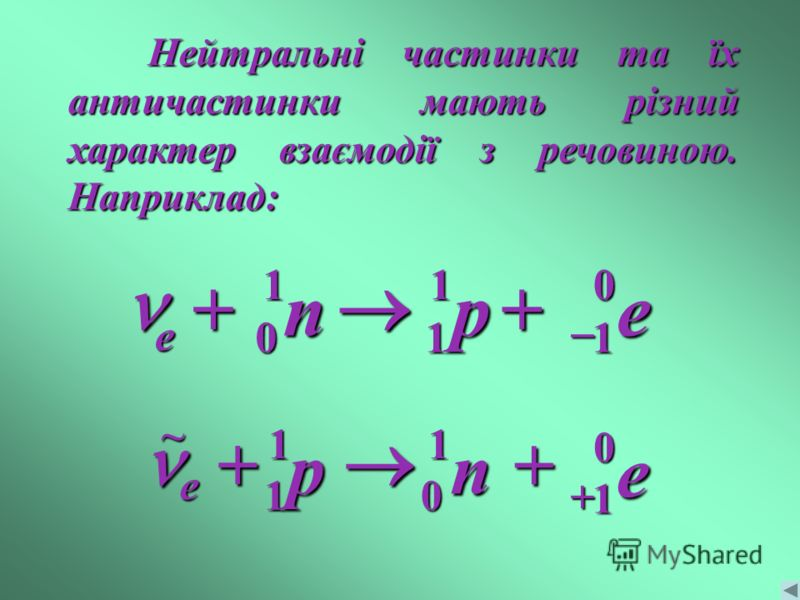 Нейтральні частинки та їх античастинки мають різний характер взаємодії з речовиною. Наприклад: p11 n10 e01 e n 1 0 e 0 1 p e 1 1~