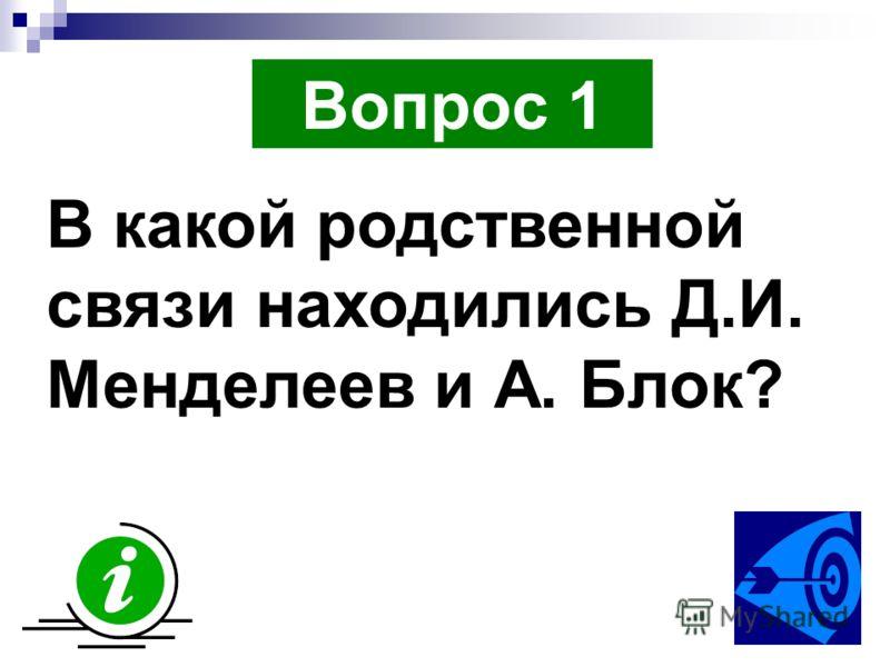 Вопрос 1 В какой родственной связи находились Д.И. Менделеев и А. Блок?