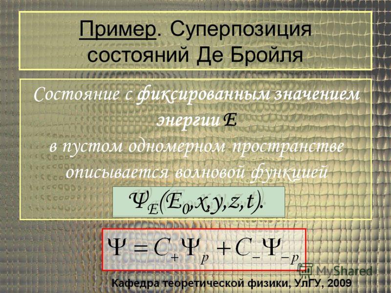 Состояние с фиксированным значением энергии E в пустом одномерном пространстве описывается волновой функцией Ψ E (E 0,x,y,z,t). Состояние с фиксированным значением энергии E в пустом одномерном пространстве описывается волновой функцией Ψ E (E 0,x,y,