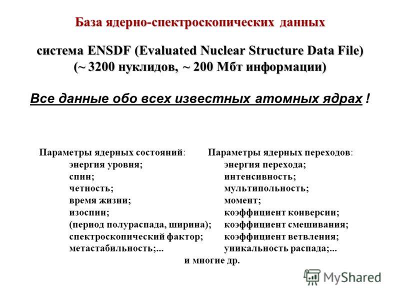 База ядерно-спектроскопических данных система ENSDF (Evaluated Nuclear Structure Data File) (~ 3200 нуклидов, ~ 200 Мбт информации) Все данные обо всех известных атомных ядрах ! Параметры ядерных состояний: Параметры ядерных переходов: энергия уровня