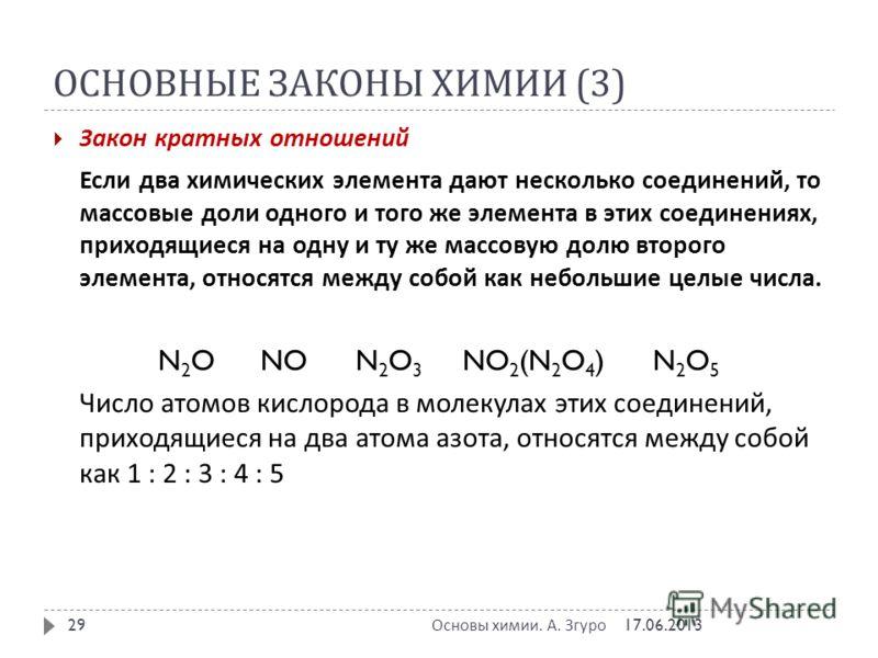 ОСНОВНЫЕ ЗАКОНЫ ХИМИИ (3) Закон кратных отношений Если два химических элемента дают несколько соединений, то массовые доли одного и того же элемента в этих соединениях, приходящиеся на одну и ту же массовую долю второго элемента, относятся между собо
