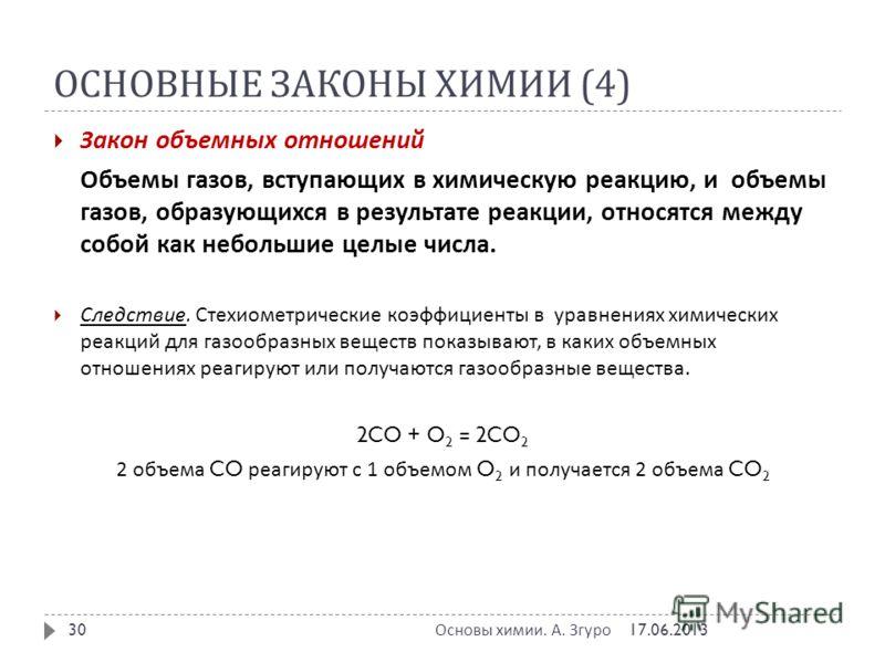 ОСНОВНЫЕ ЗАКОНЫ ХИМИИ (4) Закон объемных отношений Объемы газов, вступающих в химическую реакцию, и объемы газов, образующихся в результате реакции, относятся между собой как небольшие целые числа. Следствие. Стехиометрические коэффициенты в уравнени