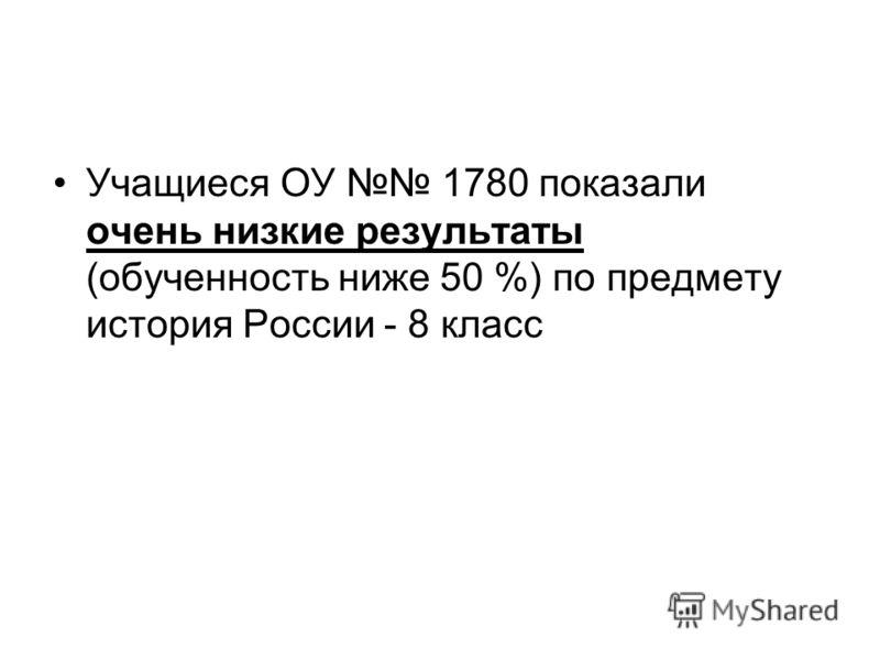 Учащиеся ОУ 1780 показали очень низкие результаты (обученность ниже 50 %) по предмету история России - 8 класс
