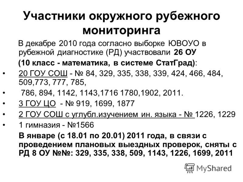 Участники окружного рубежного мониторинга В декабре 2010 года согласно выборке ЮВОУО в рубежной диагностике (РД) участвовали 26 ОУ (10 класс - математика, в системе СтатГрад): 20 ГОУ СОШ - 84, 329, 335, 338, 339, 424, 466, 484, 509,773, 777, 785, 786