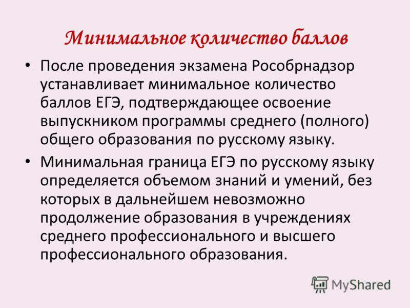 Минимальное количество баллов После проведения экзамена Рособрнадзор устанавливает минимальное количество баллов ЕГЭ, подтверждающее освоение выпускником программы среднего (полного) общего образования по русскому языку. Минимальная граница ЕГЭ по ру