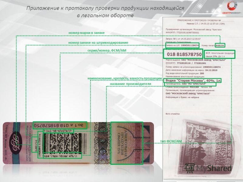 Приложение к протоколу проверки продукции находящейся в легальном обороте серия/номер, ФСМ/АМ номер заявки на штрихкодирование номер марки в заявке наименование, крепость, емкость продукции название производителя тип ФСМ/АМ