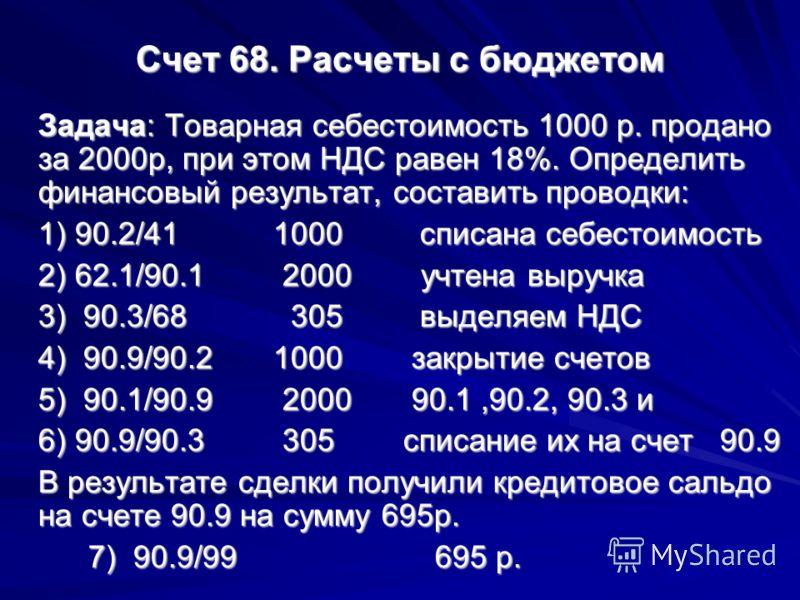 Счет 68. Расчеты с бюджетом Задача: Товарная себестоимость 1000 р. продано за 2000р, при этом НДС равен 18%. Определить финансовый результат, составить проводки: 1) 90.2/41 1000 списана cебестоимость 2) 62.1/90.1 2000 учтена выручка 3) 90.3/68 305 вы