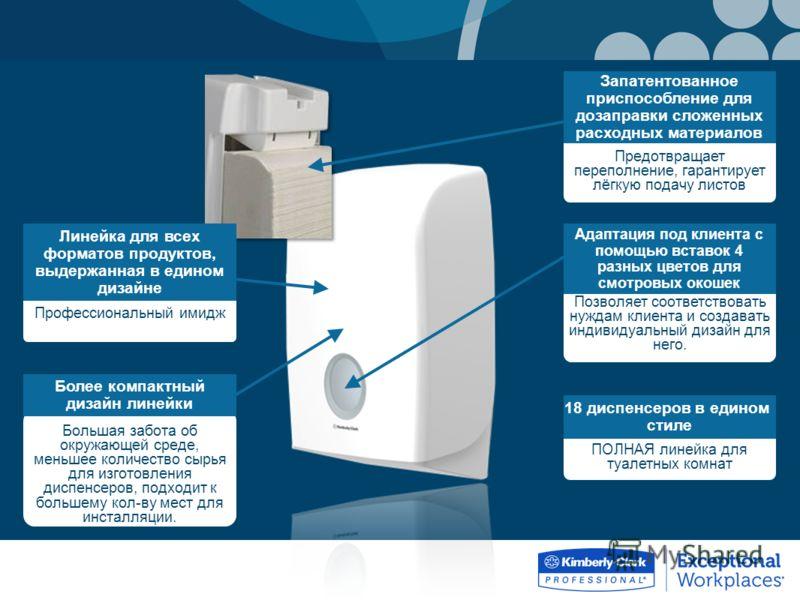 ПОЛНАЯ линейка для туалетных комнат 18 диспенсеров в едином стиле Большая забота об окружающей среде, меньшее количество сырья для изготовления диспенсеров, подходит к большему кол-ву мест для инсталляции. Более компактный дизайн линейки Профессионал