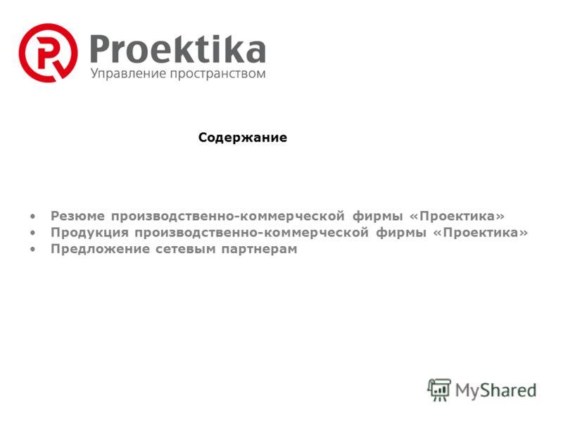 Резюме производственно-коммерческой фирмы «Проектика» Продукция производственно-коммерческой фирмы «Проектика» Предложение сетевым партнерам Содержание