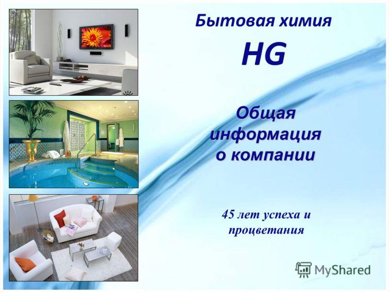 Бытовая химия HG 45 лет успеха и процветания Общая информация о компании