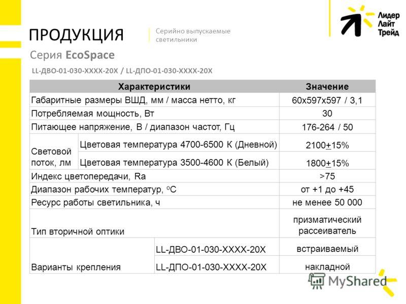 Серия EcoSpace LL-ДВО-01-030-ХХХХ-20Х / LL-ДПО-01-030-ХХХХ-20Х ПРОДУКЦИЯ Серийно выпускаемые светильники ХарактеристикиЗначение Габаритные размеры ВШД, мм / масса нетто, кг 60х597х597 / 3,1 Потребляемая мощность, Вт30 Питающее напряжение, В / диапазо