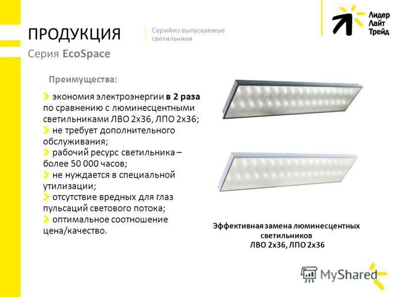 Серия EcoSpace ПРОДУКЦИЯ Эффективная замена люминесцентных светильников ЛВО 2х36, ЛПО 2х36 Серийно выпускаемые светильники экономия электроэнергии в 2 раза по сравнению с люминесцентными светильниками ЛВО 2х36, ЛПО 2х36; не требует дополнительного об