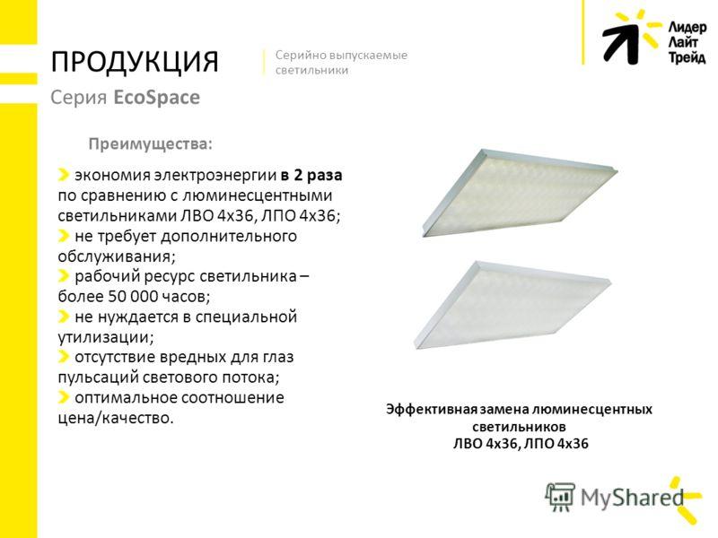 Серия EcoSpace ПРОДУКЦИЯ Эффективная замена люминесцентных светильников ЛВО 4х36, ЛПО 4х36 Серийно выпускаемые светильники экономия электроэнергии в 2 раза по сравнению с люминесцентными светильниками ЛВО 4х36, ЛПО 4х36; не требует дополнительного об