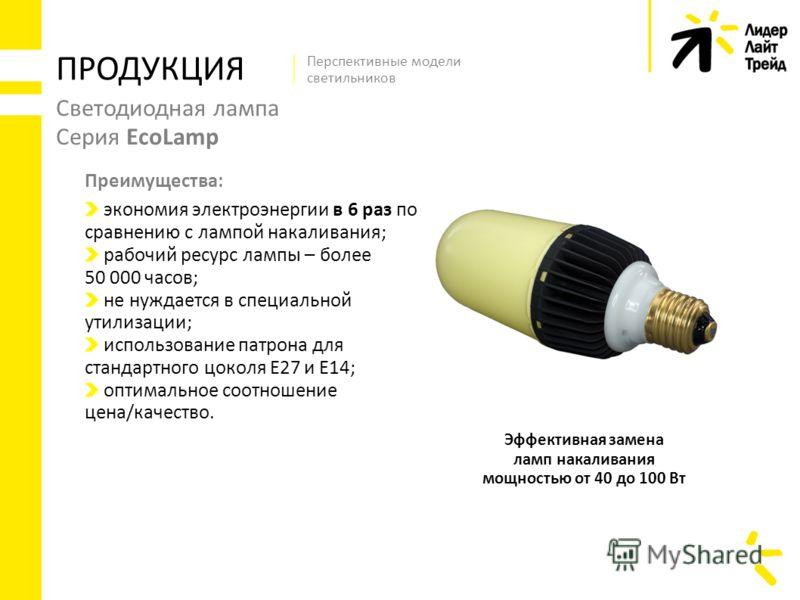 Светодиодная лампа Серия EcoLamp экономия электроэнергии в 6 раз по сравнению с лампой накаливания; рабочий ресурс лампы – более 50 000 часов; не нуждается в специальной утилизации; использование патрона для стандартного цоколя Е27 и Е14; оптимальное
