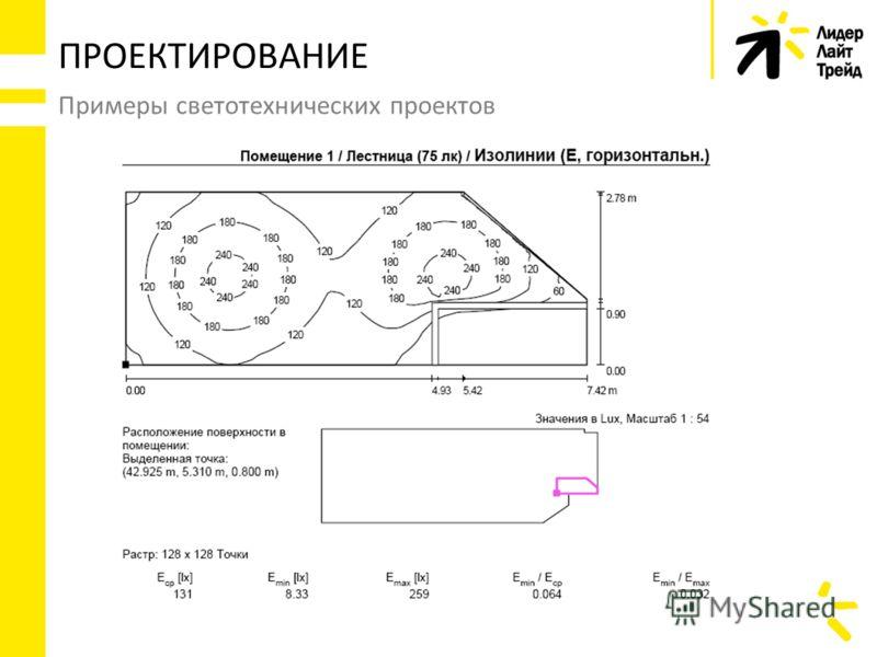 Примеры светотехнических проектов ПРОЕКТИРОВАНИЕ