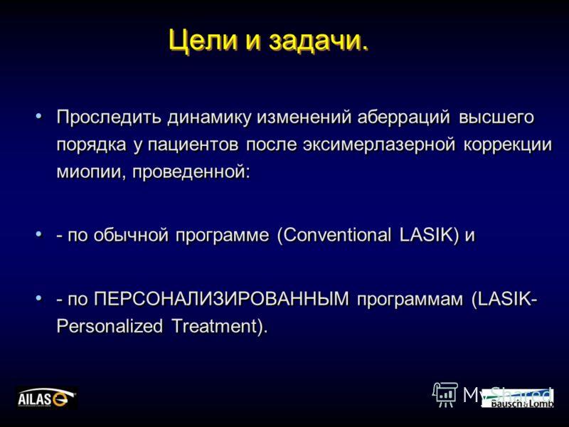 Цели и задачи. Проследить динамику изменений аберраций высшего порядка у пациентов после эксимерлазерной коррекции миопии, проведенной: - по обычной программе (Conventional LASIK) и - по ПЕРСОНАЛИЗИРОВАННЫМ программам (LASIK- Personalized Treatment).
