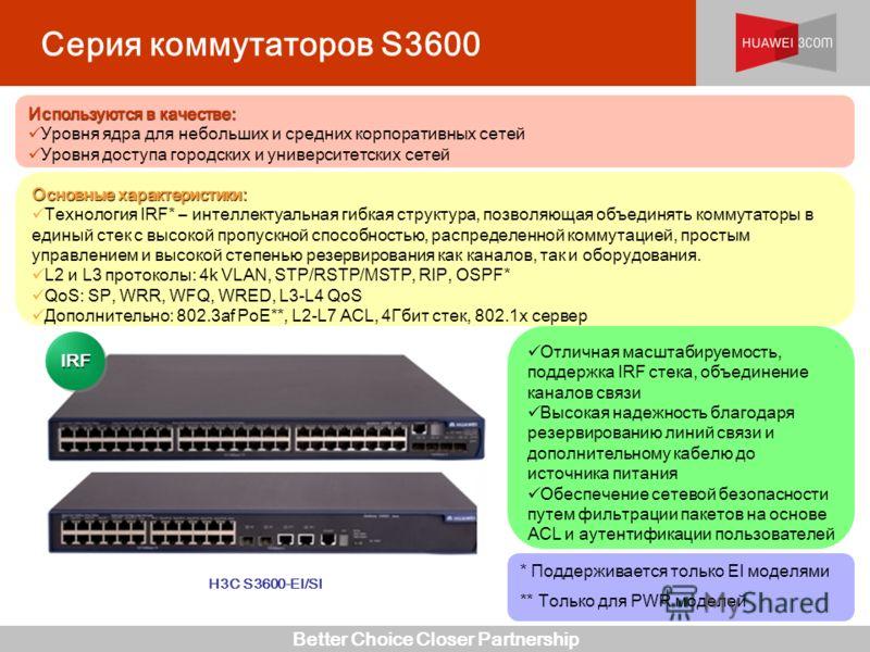 Better Choice Closer Partnership * Поддерживается только EI моделями ** Только для PWR моделей Отличная масштабируемость, поддержка IRF стека, объединение каналов связи Высокая надежность благодаря резервированию линий связи и дополнительному кабелю