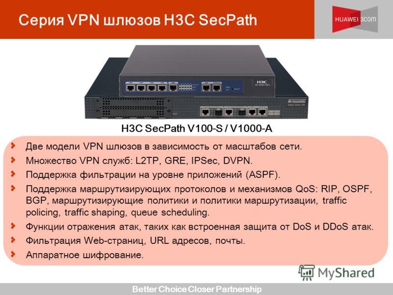Better Choice Closer Partnership Серия VPN шлюзов H3C SecPath Две модели VPN шлюзов в зависимость от масштабов сети. Множество VPN служб: L2TP, GRE, IPSec, DVPN. Поддержка фильтрации на уровне приложений (ASPF). Поддержка маршрутизирующих протоколов