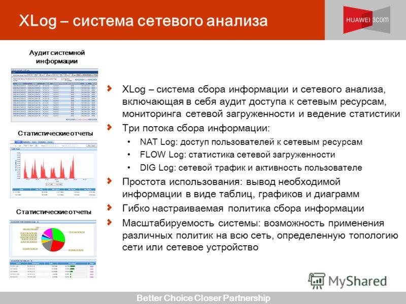 Better Choice Closer Partnership XLog – система сетевого анализа XLog – система сбора информации и сетевого анализа, включающая в себя аудит доступа к сетевым ресурсам, мониторинга сетевой загруженности и ведение статистики Три потока сбора информаци