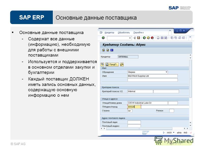 SAP ERP Page 5-10 © SAP AG Основные данные поставщика -Содержат все данные (информацию), необходимую для работы с внешними поставщиками -Используется и поддерживается в основном отделами закупки и бухгалтерии -Каждый поставщик ДОЛЖЕН иметь запись осн