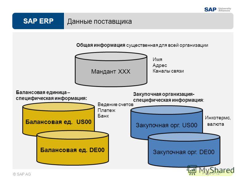 SAP ERP Page 5-12 © SAP AG Данные поставщика Общая информация существенная для всей организации Имя Адрес Каналы связи Мандант XXX Балансовая ед. US00 Балансовая ед. DE00 Балансовая единица – специфическая информация: Ведение счетов Платеж Банк Закуп