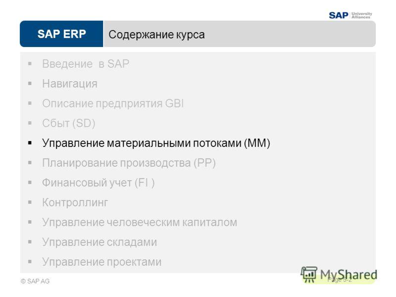 SAP ERP Page 5-2 © SAP AG Содержание курса Введение в SAP Навигация Описание предприятия GBI Сбыт (SD) Управление материальными потоками (MM) Планирование производства (PP) Финансовый учет (FI ) Контроллинг Управление человеческим капиталом Управлени