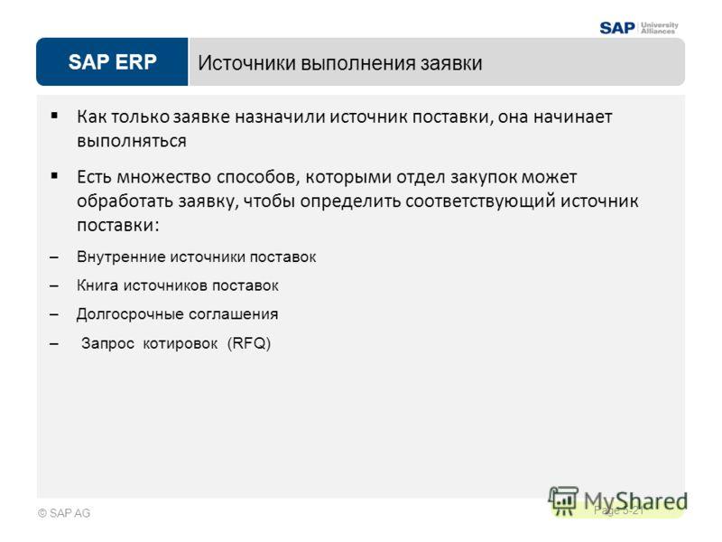 SAP ERP Page 5-21 © SAP AG Источники выполнения заявки Как только заявке назначили источник поставки, она начинает выполняться Есть множество способов, которыми отдел закупок может обработать заявку, чтобы определить соответствующий источник поставки