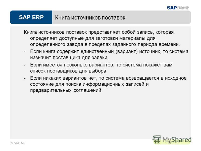 SAP ERP Page 5-23 © SAP AG Книга источников поставок Книга источников поставок представляет собой запись, которая определяет доступные для заготовки материалы для определенного завода в пределах заданного периода времени. -Если книга содержит единств