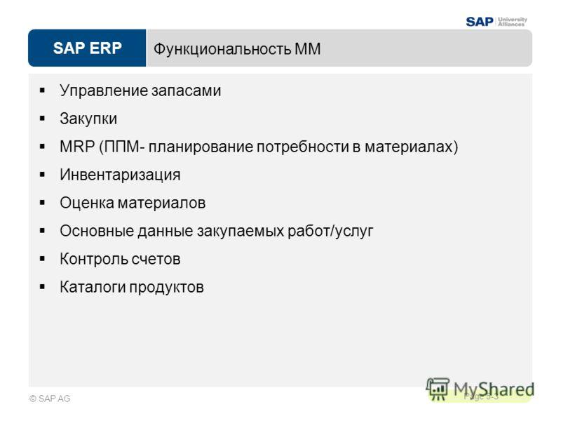 SAP ERP Page 5-3 © SAP AG Функциональность ММ Управление запасами Закупки MRP (ППМ- планирование потребности в материалах) Инвентаризация Оценка материалов Основные данные закупаемых работ/услуг Контроль счетов Каталоги продуктов