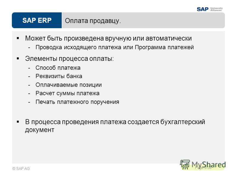 SAP ERP Page 5-38 © SAP AG Оплата продавцу. Может быть произведена вручную или автоматически -Проводка исходящего платежа или Программа платежей Элементы процесса оплаты: -Способ платежа -Реквизиты банка -Оплачиваемые позиции -Расчет суммы платежа -П