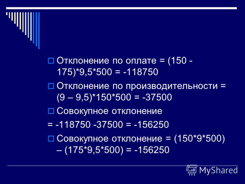 Отклонение по оплате = (150 - 175)*9,5*500 = -118750 Отклонение по производительности = (9 – 9,5)*150*500 = -37500 Совокупное отклонение = -118750 -37500 = -156250 Совокупное отклонение = (150*9*500) – (175*9,5*500) = -156250