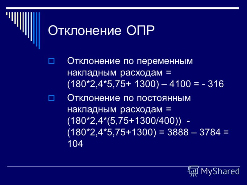 Отклонение ОПР Отклонение по переменным накладным расходам = (180*2,4*5,75+ 1300) – 4100 = - 316 Отклонение по постоянным накладным расходам = (180*2,4*(5,75+1300/400)) - (180*2,4*5,75+1300) = 3888 – 3784 = 104