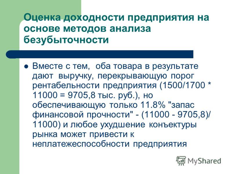 Оценка доходности предприятия на основе методов анализа безубыточности Вместе с тем, оба товара в результате дают выручку, перекрывающую порог рентабельности предприятия (1500/1700 * 11000 = 9705,8 тыс. руб.), но обеспечивающую только 11.8%
