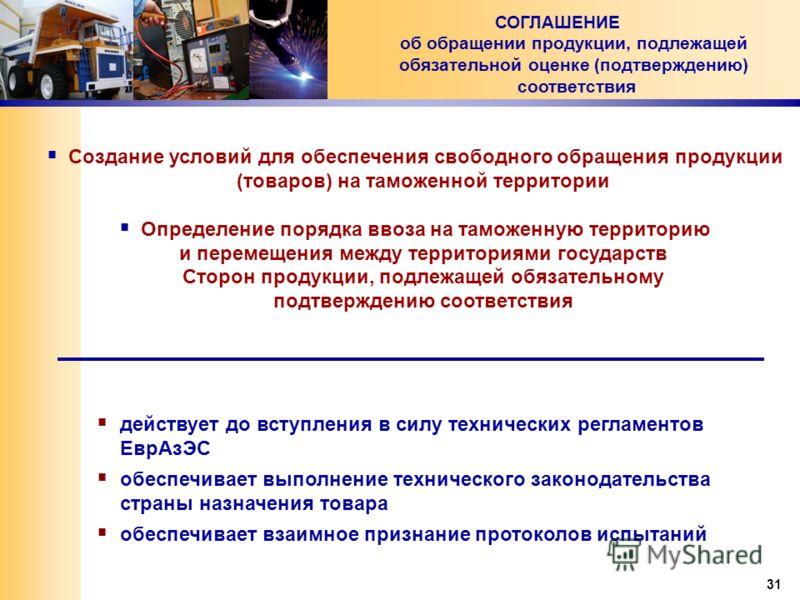 31 Создание условий для обеспечения свободного обращения продукции (товаров) на таможенной территории Определение порядка ввоза на таможенную территорию и перемещения между территориями государств Сторон продукции, подлежащей обязательному подтвержде