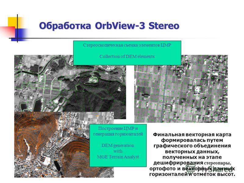 Обработка OrbView-3 Stereo Стереоскопическая съемка элементов ЦМР Collection of DEM elements Построение ЦМР и генерация горизонталей DEM generation with MGE Terrain Analyst Финальная векторная карта формировалась путем графического объединения вектор