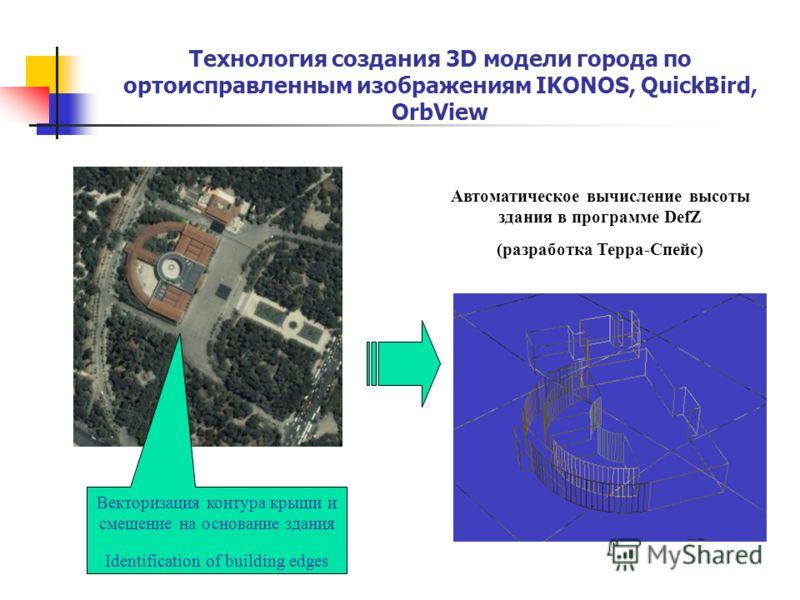Технология создания 3D модели города по ортоисправленным изображениям IKONOS, QuickBird, OrbView Автоматическое вычисление высоты здания в программе DefZ (разработка Терра-Спейс) Векторизация контура крыши и смещение на основание здания Identificatio