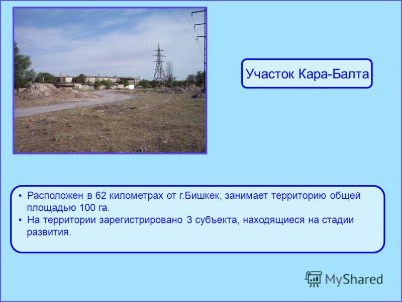 Расположен в 62 километрах от г.Бишкек, занимает территорию общей площадью 100 га. На территории зарегистрировано 3 субъекта, находящиеся на стадии развития. Участок Кара-Балта