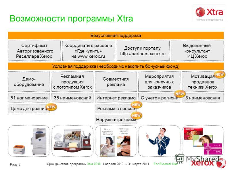 Срок действия программы Xtra 2010: 1 апреля 2010 – 31 марта 2011 For External Use Page 5 3 наименования Возможности программы Xtra Безусловная поддержка Сертификат Авторизованного Реселлера Xerox Координаты в разделе «Где купить» на www.xerox.ru Дост
