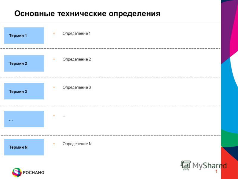 1 Основные технические определения 1 Определение 2 Термин 1 Термин 2 … Определение 1 Термин 3 Термин N Определение N Определение 3 …