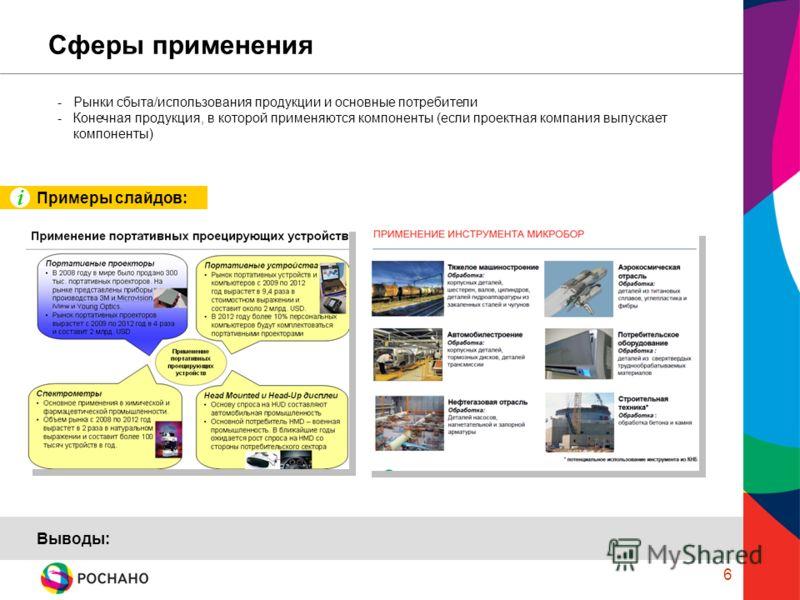 6 Сферы применения -Рынки сбыта/использования продукции и основные потребители -Конечная продукция, в которой применяются компоненты (если проектная компания выпускает компоненты) Выводы: Примеры слайдов: i