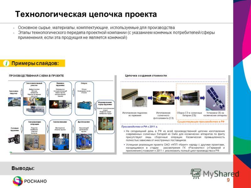 9 Технологическая цепочка проекта 9 -Основное сырье, материалы, комплектующие, используемые для производства -Этапы технологического передела проектной компании (с указанием конечных потребителей/сферы применения, если эта продукция не является конеч