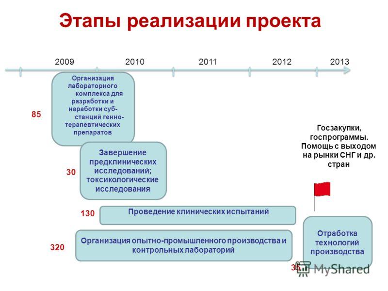 Проведение клинических испытаний 2009201020112012 Этапы реализации проекта Организация лабораторного комплекса для разработки и наработки суб- станций генно- терапевтических препаратов Завершение предклинических исследований; токсикологические исслед